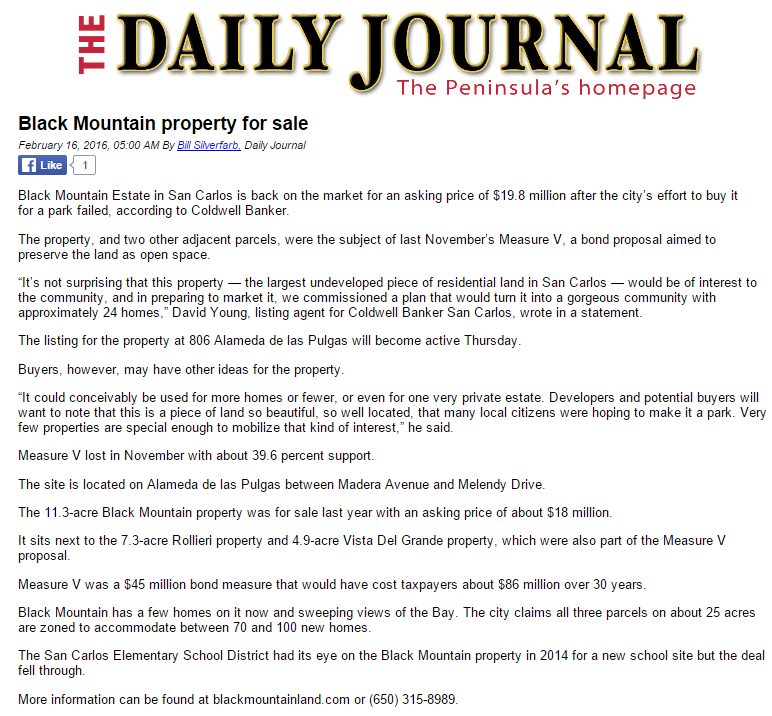 Black Mountain property for sale San Mateo Daily Journal