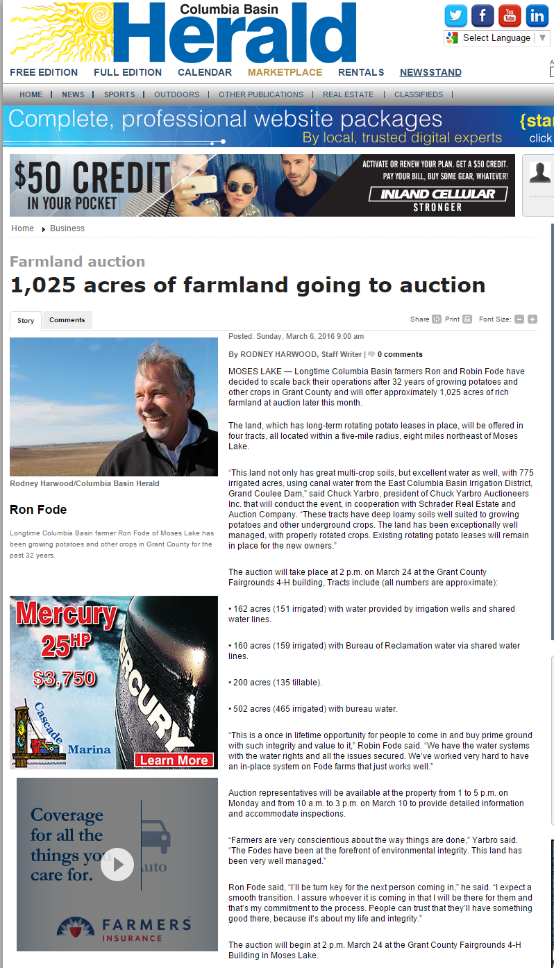 1 025 acres of farmland going to auction Columbia Basin Herald Business