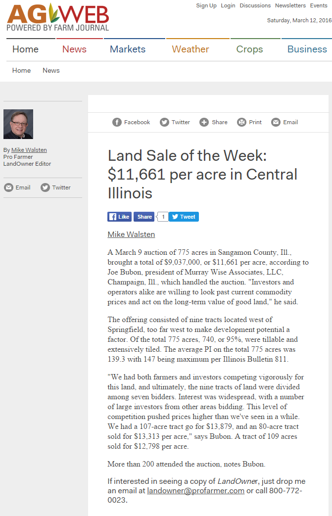 Sangamon Sale of Week 031216