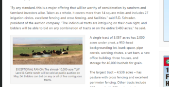 Coverage of upcoming Schrader auction in Kansas