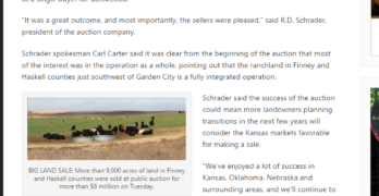 Solid coverage of Schrader's auction of major cattle operation in west Kansas