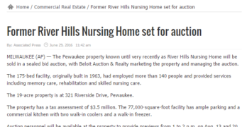 Local construction-oriented news site picks up story on former nursing home set for auction