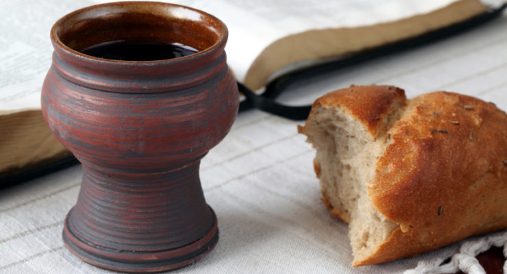 It's not food and liquid. It's bread and wine. Always use the most precise word you can find.