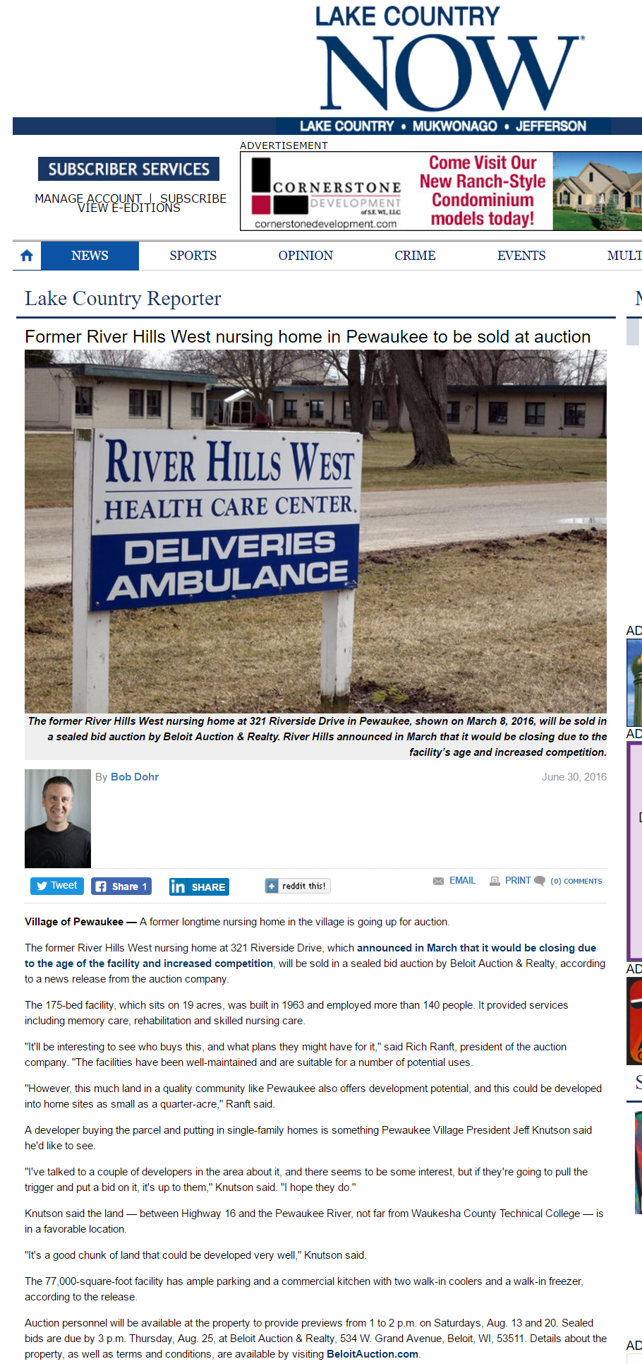 Lake Country Now Former River Hills West nursing home in Pewaukee to be sold at auction