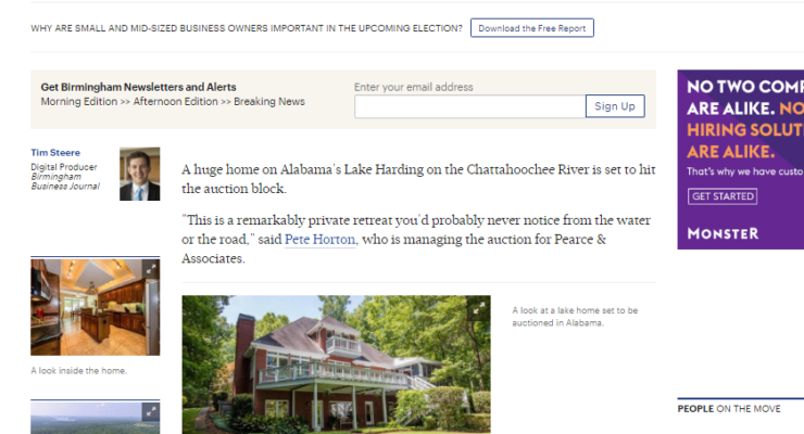 Massive Alabama lake house to be auctioned   Birmingham Business Journal