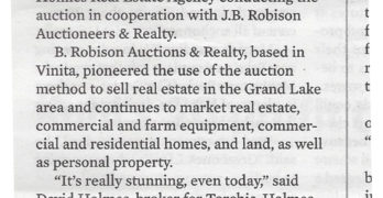 Print version of Oklahoma Journal-Record story on Oswego auction