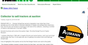 AgriNews story on upcoming antique tractor auction