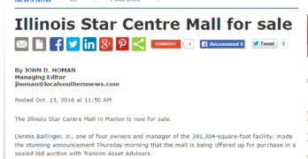 Marion Daily Republican day-of story on mall auction