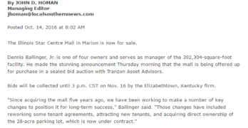 Page 1 coverage for upcoming mall auction in Illinois