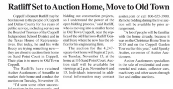 Story on upcoming Assiter sale near Dallas